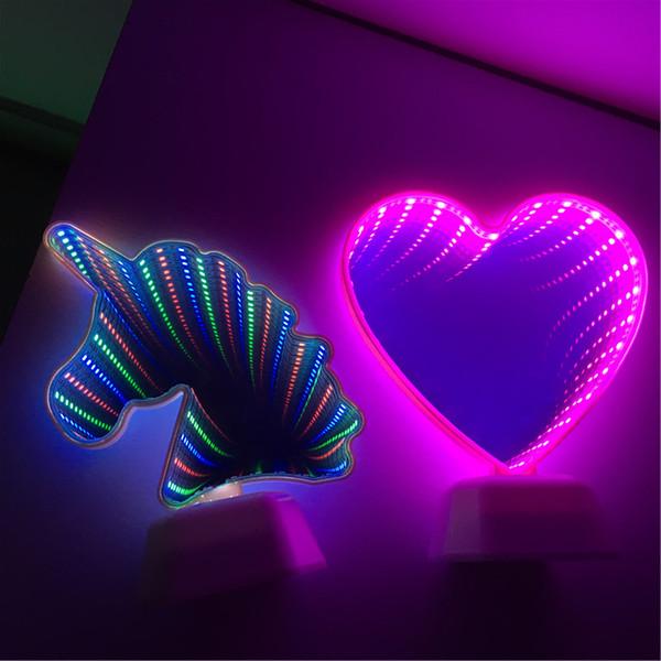 Yenilik Işık Kaktüs Şekli 3D LED Tünel Lambası Infinity Ayna Gece Lambası Kapalı Dekor Atmosfer Aydınlatma Luminaria Boynuzlu At Led