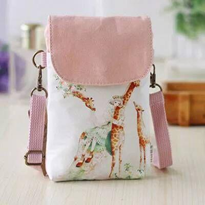 The printing vertical style is simple, 2018 excellent handholding lightweight and versatile mobile phone bag canvas cover single shoulder