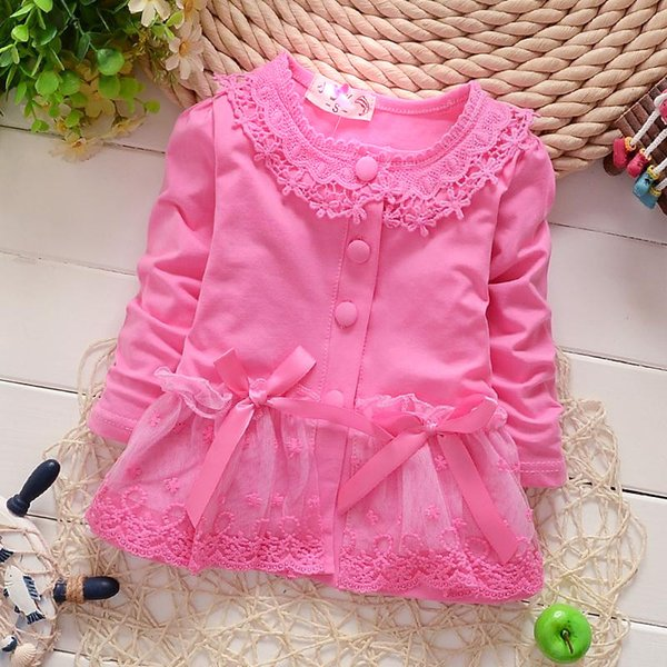 Kids cardigan baby girl clothes girls tops dress lace bow clothing long sleeve princess for 3 different colors