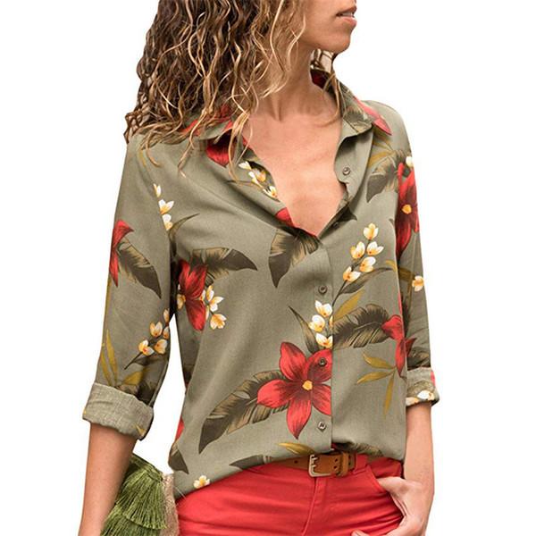 Damen Blusen 2018 Blumendruck Langarm Umlegekragen Bluse Damen Shirts Gestreifte Tunika