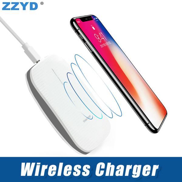 ZZYD беспроводное зарядное устройство Qi зарядки Pad адаптер с противоскользящей резины для iP 8 X Samsung S8 Примечание 8 Qi-совместимое устройство