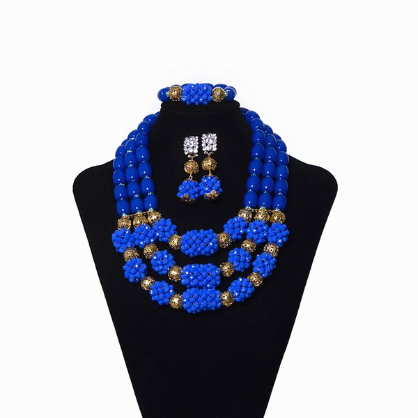 New Blue Crystal Beaded African Wedding Jewelry Necklace Set Nigerian Coral Jewelry Set for Women Party Dubai Girl Jewelry Set Free Shipping