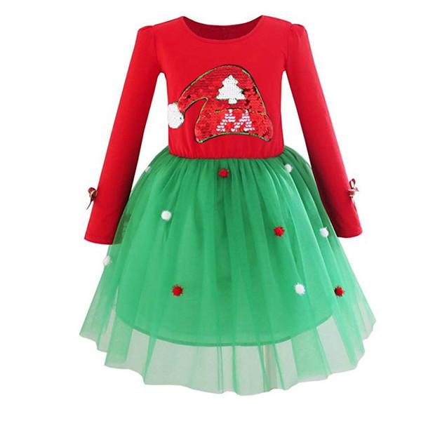 filles bébé manches longues père noël chapeau robe sequin brodé bal en tulle jupe coton enfants cadeau vêtements de Noël
