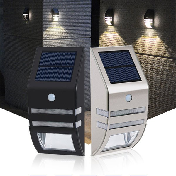 Solar Lâmpada PIR Sensor De Movimento 2 LEDs 120LM Luz Solar Ao Ar Livre À Prova D 'Água Jardim Quintal Caminho Porch Cerca Solar Powered Wall Lamp
