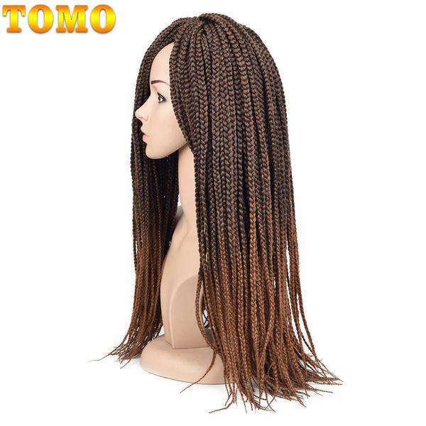 TOMO Crotchet Box Braids Extensiones de cabello # 1B / 1/2 Blonde Brown Burgundy Crochet Trenzas Kanekalon Pelo sintético 14/18 / 22inch 22strands / paquete