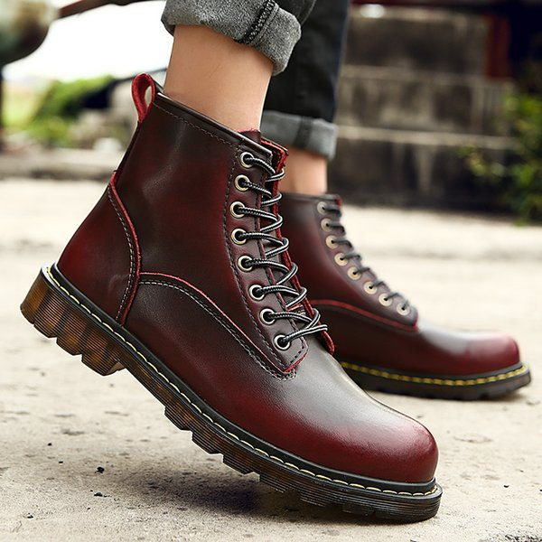 Big size 35-46!Free shipping!2017 Quality Genuine Leather shoes men Boots High Top Motorcycle Autumn Winter shoes Lover snow Boots
