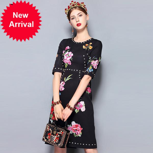 Fashion Runway Summer Dress Women's Half Sleeve Floral Print Crystal Beading Black Vintage Midi Elegant Dress