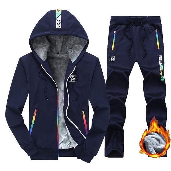 Men Sportswear Tracksuit Autumn Winter Fleece Hooded Jacket Sweatshirt Hoodies+pants Running Jog Leisure Set Sports Warm Suit