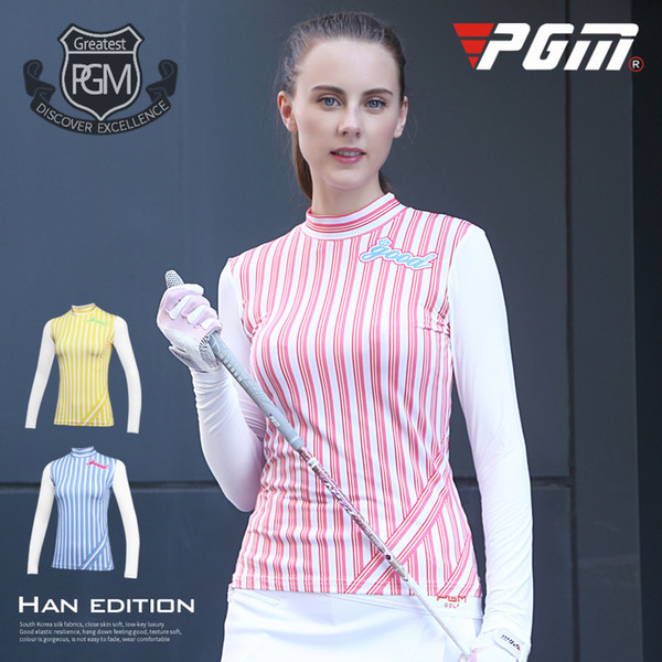 Autumn and winter PGM Golf dress women long sleeved T-shirt vertical striped Golf sportswear