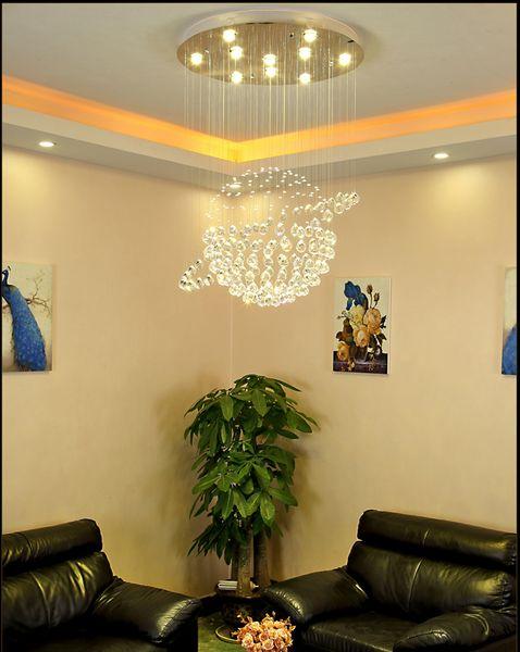Home Lighting Stairs Living Room LED 3 Brightness K9 Crystal and Chrome Mirror Stainless Steel Chandelier Ceiling Light Chandelier LED Bulb