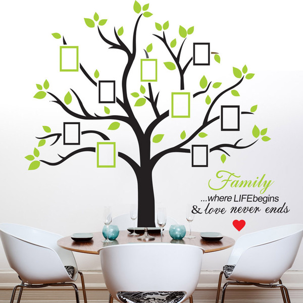 216*209cm Photo Tree Wall Stickers with Picture Frame Wallpaper Wall Art for Home Decor Kitchen Accessories Household Suppllies