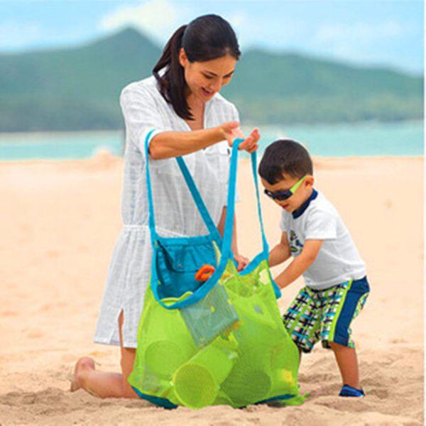 Çocuk Bebek Açık Plaj Sandy Oyuncak Giyim Havlu Toplama Çanta Omuz Çantaları Büyük Uzay Örgü Çanta Çanta Kılıf Toptan