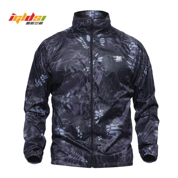 IGLDSI Men Army Skin Jackets Summer Tactical Navy Seal Lightweight Camouflage Jacket Waterproof Thin Raincoat Windbrer