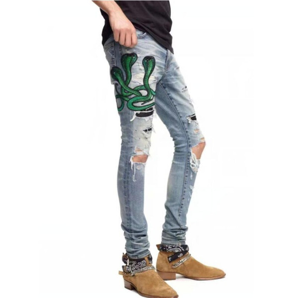 top popular 2020 High quality Mens jeans Distressed Motorcycle biker jeans Rock Skinny Slim Ripped hole stripe Fashionable snake embroidery Denim pants 2020