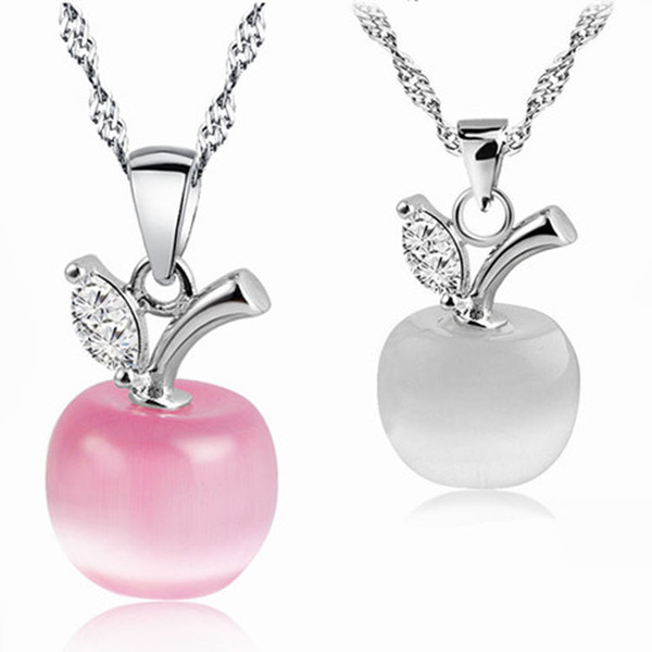 New cute opal white pink and green crystal apple pendant necklace for women and girls fashion apple shape jewelry
