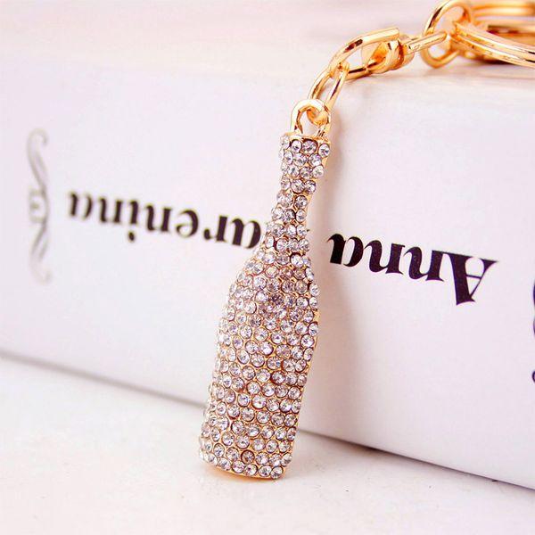 Beer Bottle Keychain Keyring - Rhinestones Sparkling Crystal Key Chain Designer Luxury Keychains Jewelry Handbag Decor