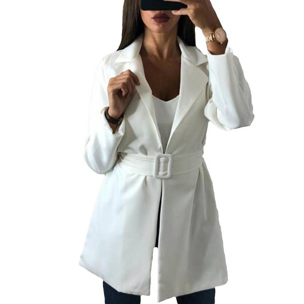 Business Lady Turndown Collar Blazer Long Coat Solid Color Slim Jacket with Belt 2018