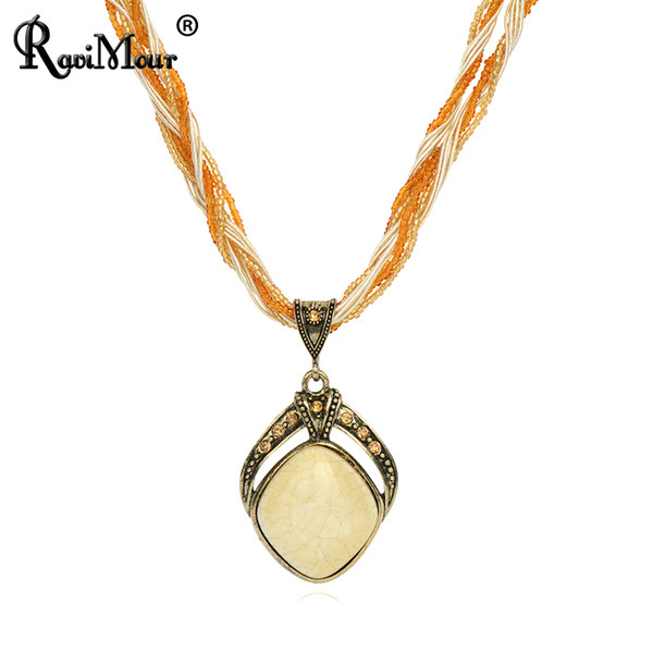 RAVIMOUR New 2017 Vintage Bohemian Imitation Gemstone Jewelry Handmade Beads Chain Statement Necklaces Pendants For Women