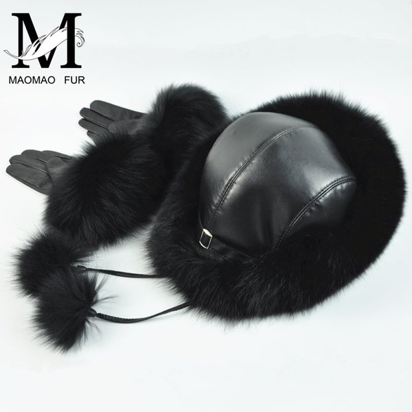 Real Fox Fur Hat and Gloves Set Women Furry Winter Fur Cap Leather Gloves Winter Snow Genuine Leather Hat