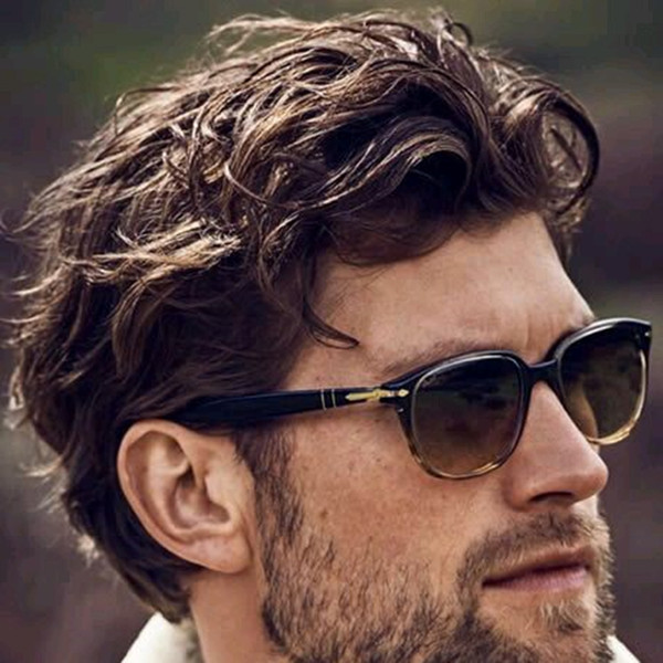 Men's Wig Hairpiece Human Hair Toupee Wig Mono Base Breathable Toupee for Men System Wavy Style