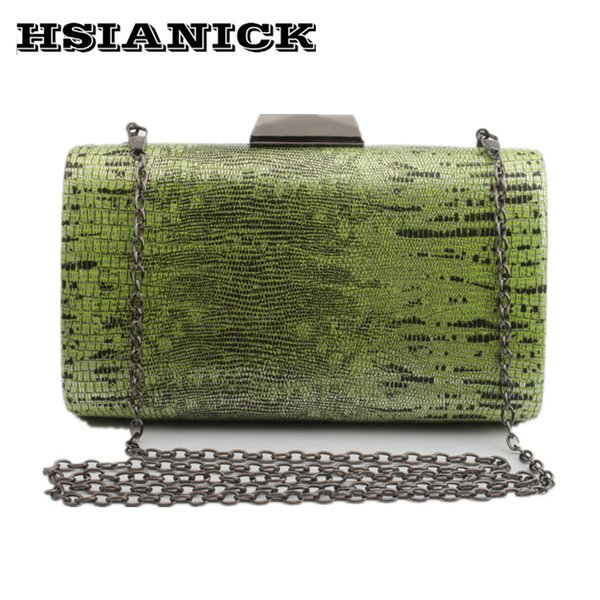2017 Women new fashion snake-pattern design PU hand-shouldered handbag chain clutch dinner female square handbag evening bag