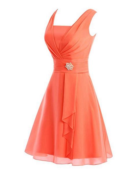 2018 estilo country vestidos de dama de honor cortos naranja azul real rojo mini barato con cuello en v acanalada cremallera vestidos de verano boho