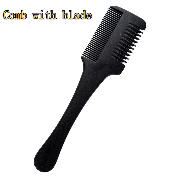 1pc Super Hair Razor Comb Black Handle Hair Razor Cutting Thinning Comb Home DIY Trimmer inside with Blades Brush