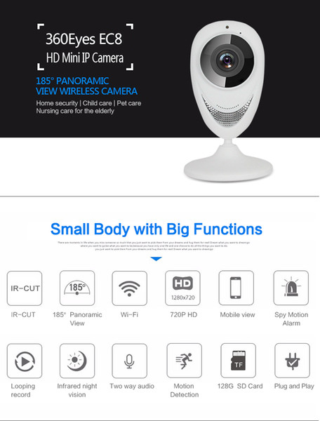 180 degree Panoramic WiFi IP Camera HD 1080P 1.3MP IR Night Vision mini baby monitor Wireless network home security cctv camera EC8-G6