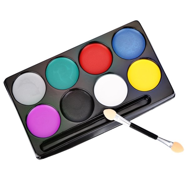 8 Colors with Brush Flash Tattoo Body Paint Oil Painting Art Non-toxic Water Halloween Party Makeup Face Paint