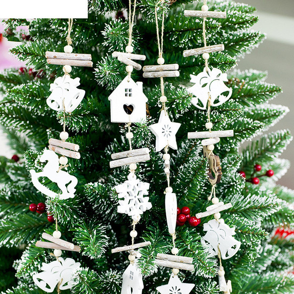 Wooden Craft Christmas Tree Decor Hanging Pendant Bell Snowflake House Ornament Christmas Decoration For Home Xmas Party Y18102609 Christmas Outdoor
