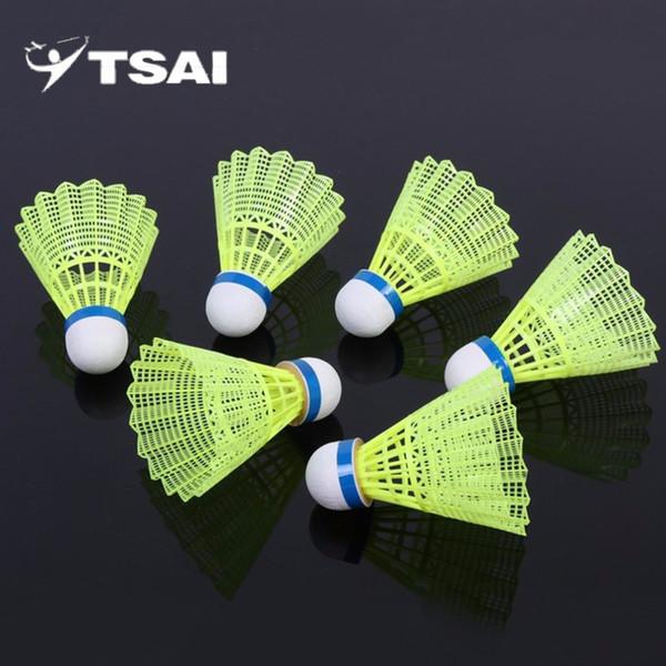 Цай супер прочный и легкий пластиковый нейлон Бадминтон мяч обучение мяч пластиковые челнок пробка древесины голова