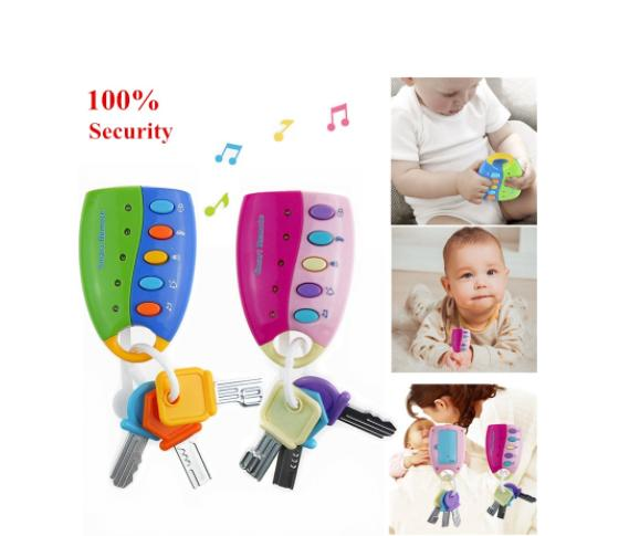 Colorful Car Key Shaped Toy Smart Remote Sound And Light Musical Car Keychain Baby Play Education Toy Stocking Stuffer