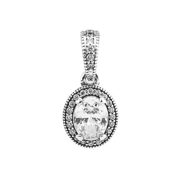 Vintage Elegance Charm 100% 925 Sterling Silver Clear CZ Pendant Charm Fit Bracelets & Necklaces Diy Fine Jewelry PF617