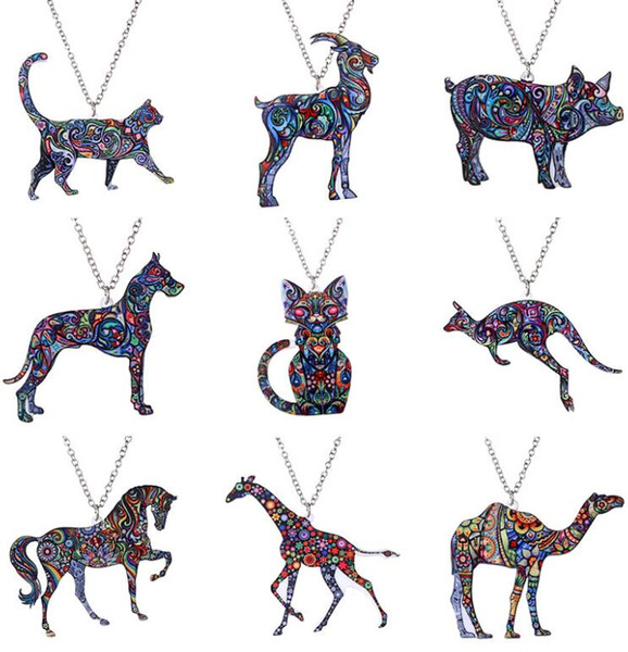 Acrylic Animal Necklace Vintage Retro Lovely Kitty Giraffes 10 Animals Heat Transfer Printing Pendant Necklace Jewelry for Sale