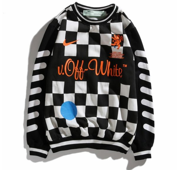 Europe and the United States tide goods base 18SS joint World Cup football clothing couple men and women black and white sports sweater