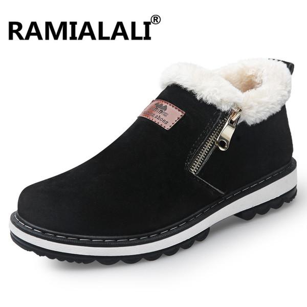 Ramialali Black Men's Loafers Designer Winter Shoes Men Warm Short Plush Fashion Casual Shoes Men Zip Zapatillas Deportivas