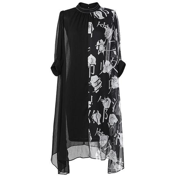 Chiffon Print Two Piece Set Summer Turtleneck Hem Asymmetry Black Female Elegant Dresses New Women's Suit Fashion Tide New