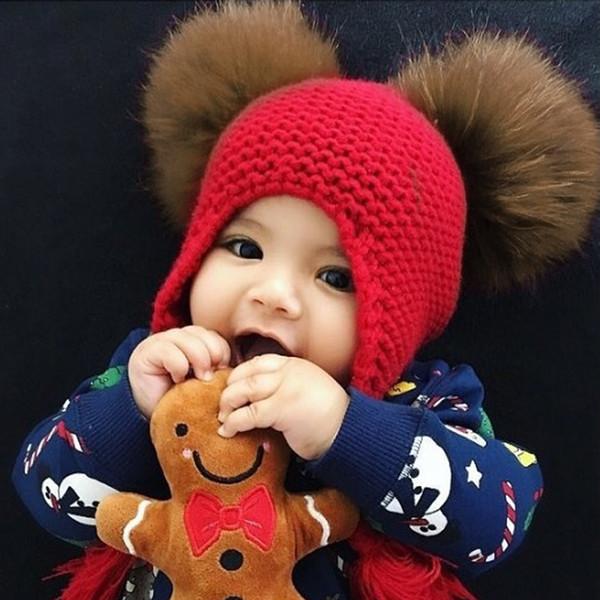 Kids Wool Knit Real Fur Pom Pom Hat Baby Girls Boys Crochet Earflap Winter Hat Beanie Real Raccoon Fur Pompom For Children