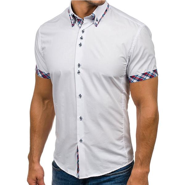 Camisa de algodón para hombre Marca Moda Casual Camisa de vestir de manga corta delgada Algodón Tallas grandes Color sólido Ropa superior Blanco Negro