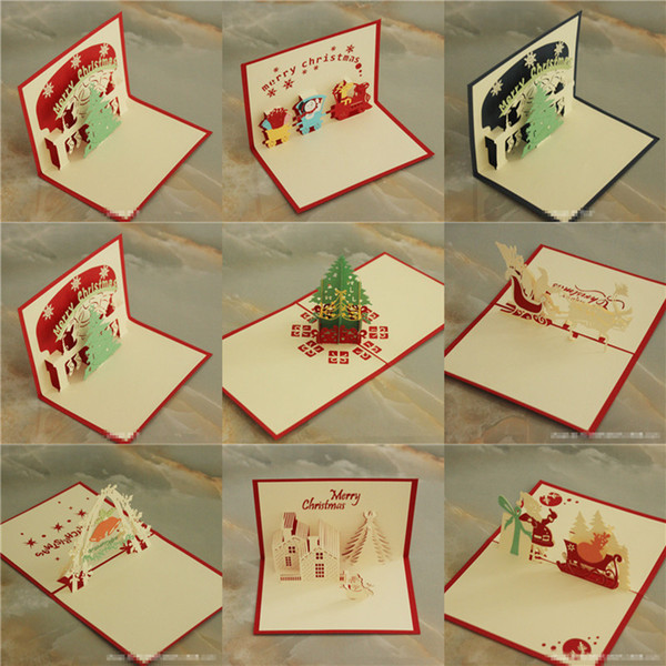 Tarjetas de Navidad 3D Tarjetas de Felicitación de Navidad Creativo DIY Hollow Out Papel Hecho A Mano Árbol de Navidad Papá Noel Fábrica de Tarjetas Barato B47