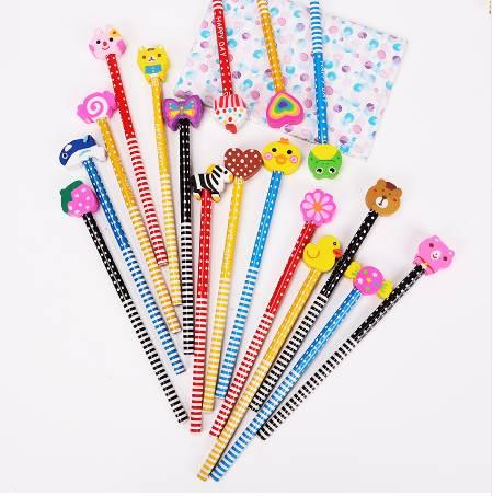 2PCS Colorful Korea Cute Pencils With A Variety of Cartoon Shape Erasers Student School Office Use Caneta Escolar