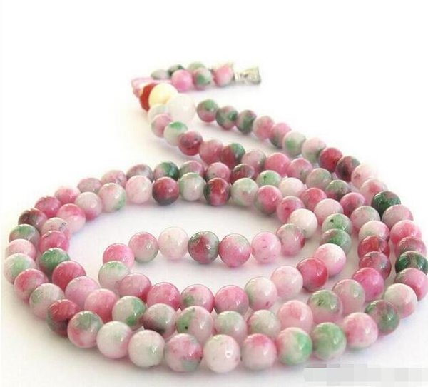 Wholesale - 8 mm Pink Green Jade Tibet Buddhist 108 Prayer Beads Mala Necklace
