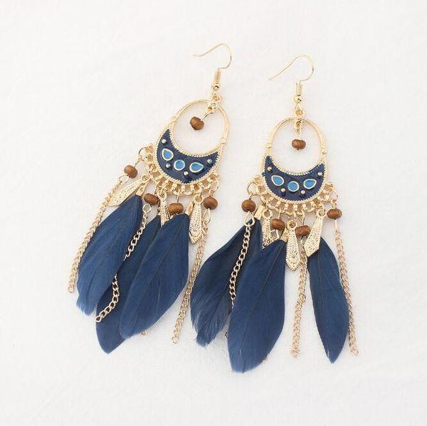 Free Shipping Women Bohemia Style Earrings Female Romantic Crescent Metal Chains Tassel Charm Earrings 6 Colors