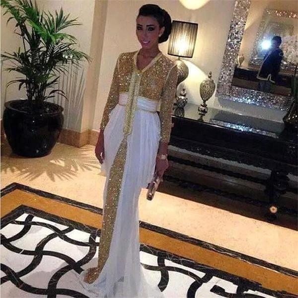 2019 lentejuelas de primavera de oro vestidos de noche de gasa Kaftan formal vestidos de baile Abaya en Dubai con tren blanco marroquí BA8127