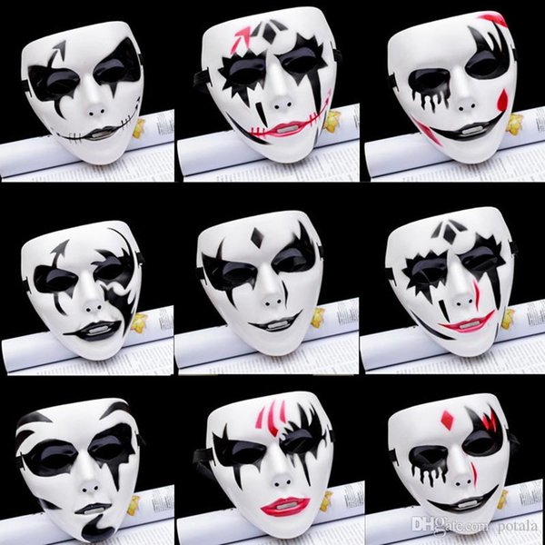 Clown Horror Mask Halloween PVC Hip hop for Party Costume Cosplay hand painted Masks Christmas Masquerade Adult Full Face Make Up ugly funny