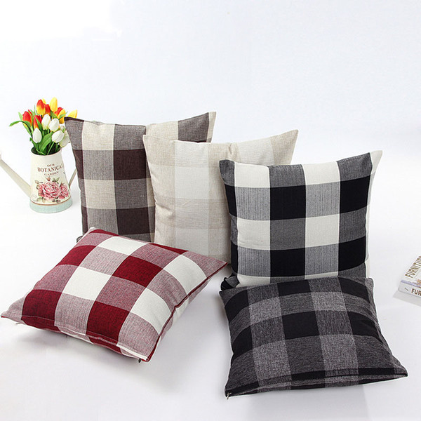 best selling Classic large lattice pillowcase Natural linen home decorative plaid Pillow cover Living room bed office cushion cover 45*45cm 9colors C5293