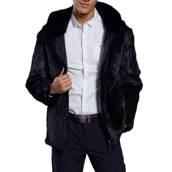 Men Fluffy Faux Fur Hooded Coat 2018 Winter Thick Warm Luxury Hairy Fur Jacket Plus Size Male Hoodie Coats Black Zipper Outwear