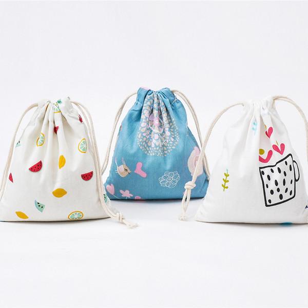 Nette karikatur Druck Leinwand Kordelzug Taschen Frauen Reisetaschen Süßigkeiten Schmuck Make-Up Kosmetiktaschen Schuhe Reiseveranstalter Tasche