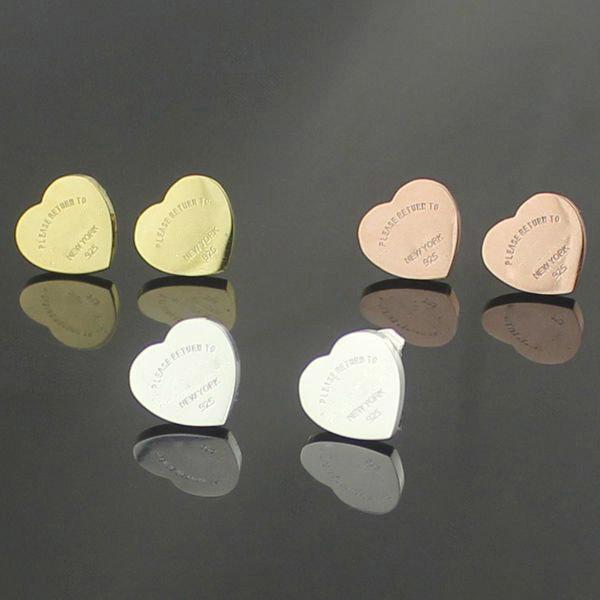 Wholsale vente chaude marque double T lettre en acier inoxydable coeur boucles d'oreilles pour les femmes argent or rose couleur pour toujours amour boucles d'oreilles cadeau