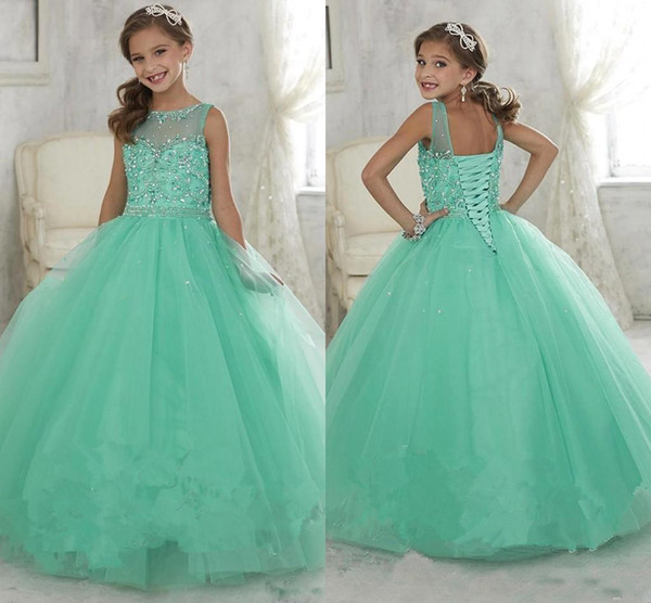 Cute Mint Green Little Girls Pageant Dresses Tulle Sheer Crew Neck Beaded Crystals Corset Back Flower Girls Birthday Princess Dresses